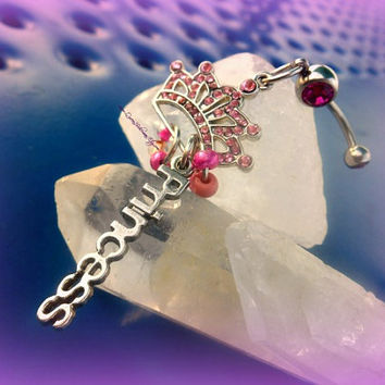 Princess Pink Crown Belly Ring, Gypsy,