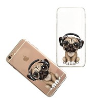 Cute Pug Dog Transparent Clear Rubber Jelly Plastic Phone Case for Iphone_ SUPERTRAMPshop (VAS1442, iphone 6)