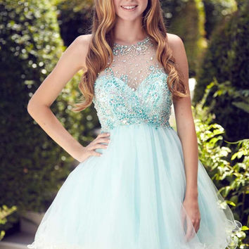 Crystal Beaded Sequined Ruffles Above Knee Cocktail Dresses Sleeveless A Line O-Neck Tulle Prom Homecoming Party Gowns Dresses