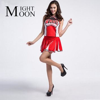 MOONIGHT Baseball Cheerleading Glee Cheerleader Costume Aerobics Clothing Uniforms for Performances Halloween Fancy Dress