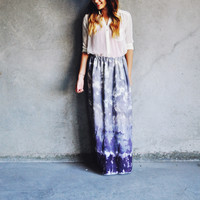 Watercolor hand dyed silk maxi skirt in Slate