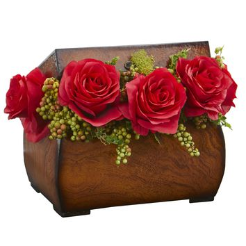 Artificial Flowers -Roses Red Arrangement in Decorative Chest