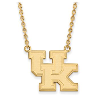 NCAA 14k Gold Plated Silver U of Kentucky Large 'UK' Pendant Necklace