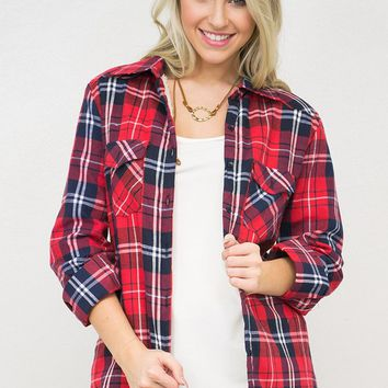 Flannel Top With Sherpa Lining