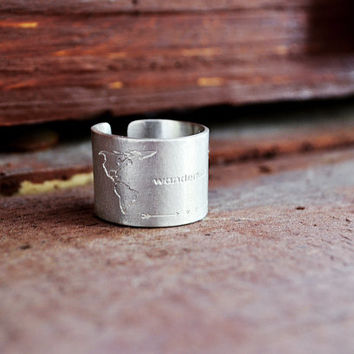 "World Map Ring / Travel Ring / Travel Collection / Traveler Ring / Tall Ring / Handmade Ring With World Map And ""Wanderlust"" Engraving"