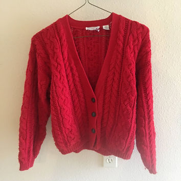 Red Button Up Cardigan Vintage M