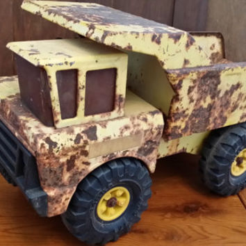 Vintage Yellow Rusty Crusty Tonka Toy Dump Truck Fun Decor Piece