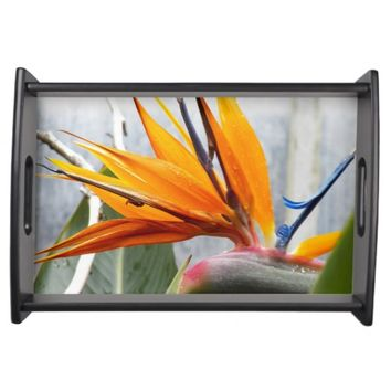 Bird of Paradise Floral Serving Tray