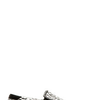 Saint Laurent Black And White Babycat Slip-on Shoes