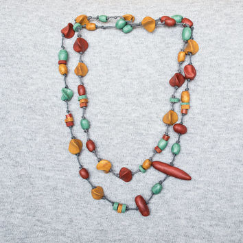 Beadwork necklace Polymer clay necklace Beaded necklace Boho necklace Hippie necklace Rustic necklace Mint golden copper red necklace