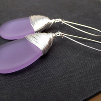 Purple Sea Glass Earrings: Lavender Large Teardrop Statement Earrings, Radiant Orchid Dangle Fine Silver Wire Wrapped Beach Wedding Jewelry