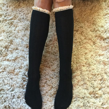 Black teen Button Knit Boot Socks, Cowboy Boot Socks, Aqua Lace Boot Socks, Boot toppers, Leg Warmers, Boot Socks, Lace Boot Socks
