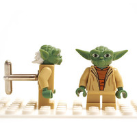 Star Wars - Yoda cuff links. Cufflinks made with LEGO(R) bricks. Wedding gift, graduation, groomsman...
