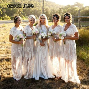 Bohemian Lace Bridesmaid Dresses Long V-neck High Waist Plus Size Wedding Party Prom Gown Ivory And Champagne Customized