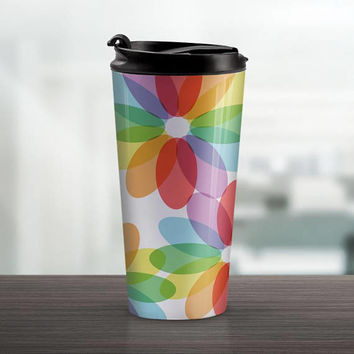 Color Lover's Travel Mug - Rainbow Flower design - 15oz Stainless Steel - Made to Order