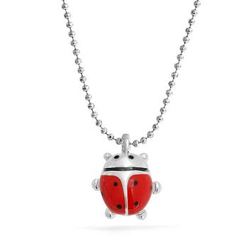Red Ladybug Small Pendant Silver Tone Silver Plated Necklace 16 Inch