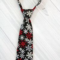 Boys Holiday Christmas Snowflake Neck Tie. Red, White and Silver Snow Flakes on Black. Various Sizes