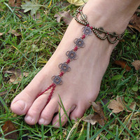 Macrame Barefoot Sandal Anklet flower pendants Bridal Yoga Beach Wedding Bellydance hippie boho gypsy festival