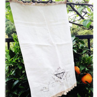 Delicate Embroidered White Linen with Crochet Trim, Hand-Towel, Downton Abbey