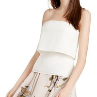 HALSTON HERITAGE Strapless Popover Crepe Top | Bloomingdales's