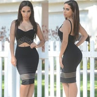 Black Cutout Mesh Contrast Bodycon Midi Dress
