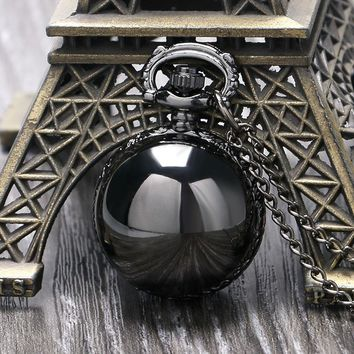 Fashion Smooth Black Ball Quartz Pocket Watch With Free Shipping Best Gift To Women Men