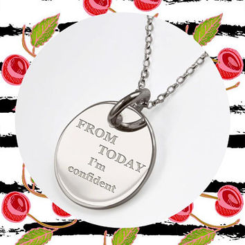 Silver Jewelry Gold Round Pendant Personalized Custom Resolution necklace Inspirational Jewelry Motivational  / From today I'm confident