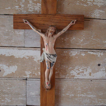 Vintage Wall Crucifix Metal an Wood Unique Ornate Must see