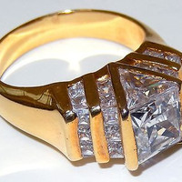 Cubic Zirconia Cocktail Ring Channel SET Gold Plated Sterling Silver 925 sz10