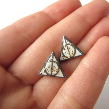 Harry Potter Deathly Hallows Sparkling Handmade Earrings