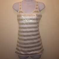 Sparkly white and gold stripped top
