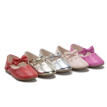 Girls Mary Jane Bow Strap Round Toe Ballet Flats Shoes