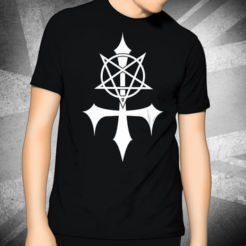 Men's Printed T-Shirt - Pentagram Cross - Horror Scary Goth Emo Biker Punk Cool Gift  Size S-2XL O-Neck top tees