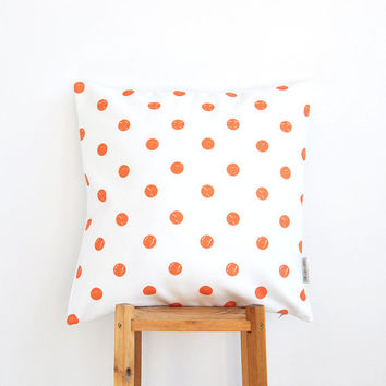 "Polka Dots Kids Pillow, Geometric Decorative Pillow, Modern Nursery Pillow, Teen Pillow, Throw Pillow, Orange 16"" x 16"""
