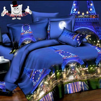 Glowing Blue Scenic Paris Bedding Set and Quilt Cover