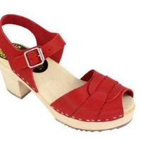 Lotta From Stockholm Swedish Clogs : High Heel Peep Toe Clogs In Red Leather EUR 38 US 7.5
