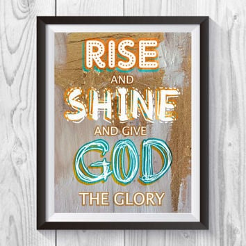 Rise and Shine Art Print, Rise and Shine Print, Inspirational Print, Typographic Print Quote, Collage Art, Gold and Blue collage Print