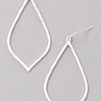Sun Stone Teardrop Earrings - Silver