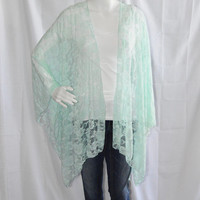 Lace Kimono Wrap/ Mint Lace Poncho Wrap/ Lightweight Cover Up/ Romantic Shawl/ Cheer Cardigan/ Boho Chic Clothing