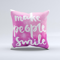 The Watercolor Pink Make People Smile ink-Fuzed Decorative Throw Pillow