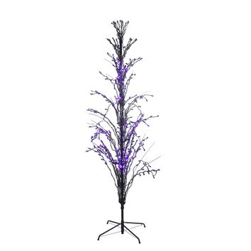 6' Purple LED Lighted Halloween Cascade Twig Tree Outdoor Decoration