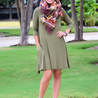 Only the Best Basic T-Shirt Dress-Olive