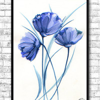 Watercolor Painting Watercolor Flower Painting Blue Flowers Modern Art Print Wall Art Poster Kitchen Wall Decor Flower Print Flower Poster