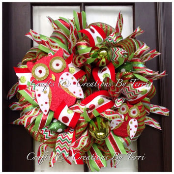Christmas Wreath -  Red and Green Christmas Wreath - Owl  Wreath -  Whimsical Wreath -  Deco Mesh Wreath - Door Decor - Ready To Ship