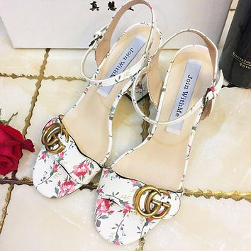 Gucci Women Fashion Casual Flower Heels Shoes