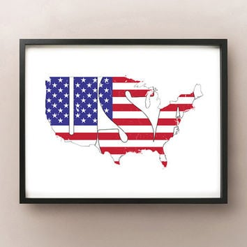 USA Font Flag Map Art Poster Print