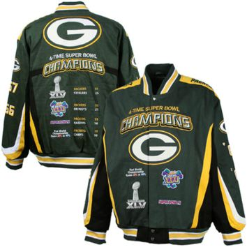 Green Bay Packers 4X Super Bowl Champions Commemorative Twill Full Button Jacket - Green/Black/Gold