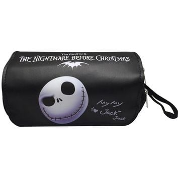 Cartoon Nightmare before Christmas Pencil Bags Leather Pencase Pen Holder Purse Gifts Young Anime Stationery Bag Purse Wallets