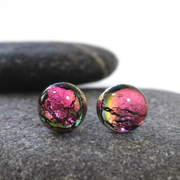 TITANIUM, Pink Sparkling Glass Studs,Titanium Hypoallergenic Post & Backing, Dichroic Glass, Fused Jewelry, Handmade in Sweden,