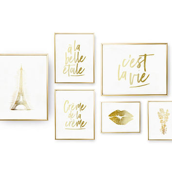 SET of 6 Prints, French Set Prints, Bedroom Decor, Lips Poster, Real Gold Foil Print, Home Decor, French Wall Art, Typography Wall Art